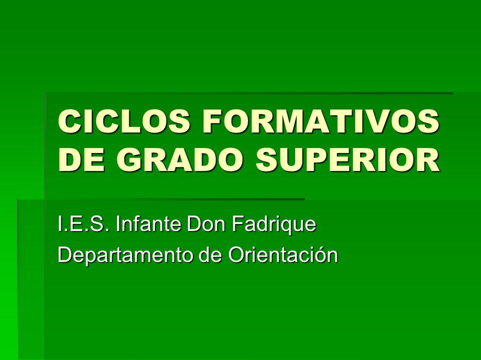 CICLOS FORMATIVOS DE GRADO SUPERIOR I.E.S. Infante Don Fadrique Departamento de Orientación