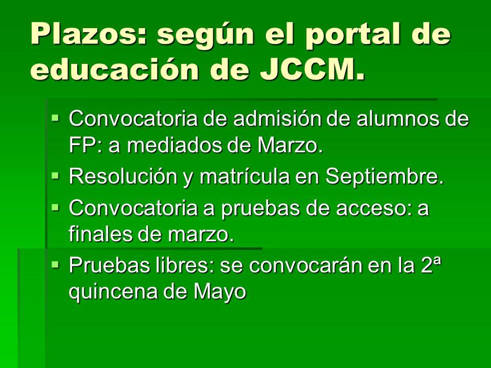 Plazos: según el portal de educación de JCCM. Convocatoria de admisión de alumnos de FP: a mediados de Marzo. Convocatoria de admisión de alumnos de F