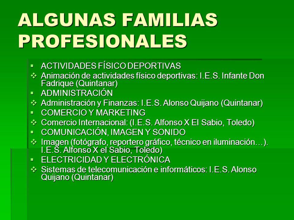 ALGUNAS FAMILIAS PROFESIONALES HOSTELERÍA Y TURISMO HOSTELERÍA Y TURISMO Restauración (Jefe de Comedor o Banquetes en Restaurantes, Bares, Cafeterías…): I.E.S.
