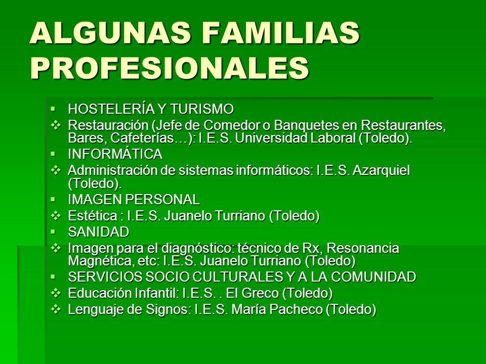 ALGUNAS FAMILIAS PROFESIONALES HOSTELERÍA Y TURISMO HOSTELERÍA Y TURISMO Restauración (Jefe de Comedor o Banquetes en Restaurantes, Bares, Cafeterías…