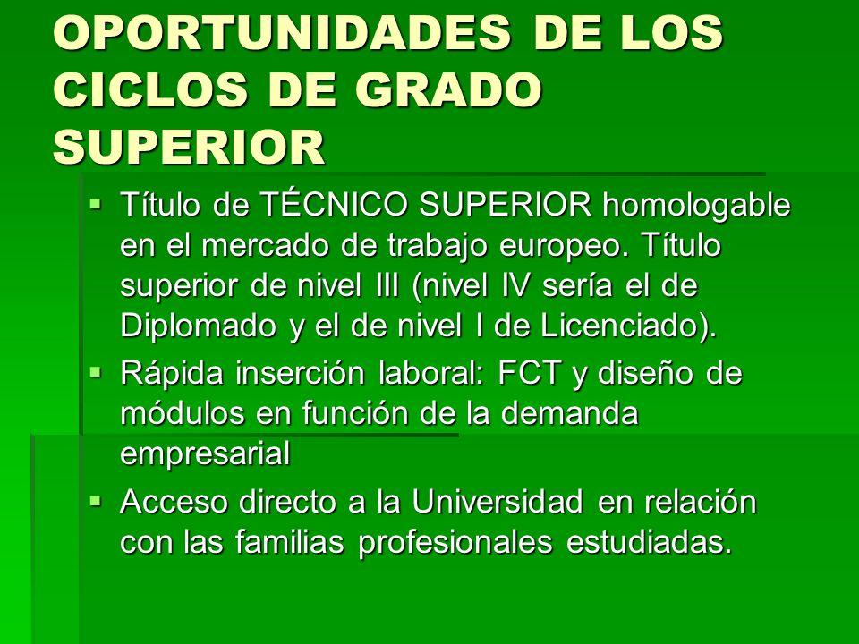 OPORTUNIDADES DE LOS CICLOS DE GRADO SUPERIOR Título de TÉCNICO SUPERIOR homologable en el mercado de trabajo europeo. Título superior de nivel III (n
