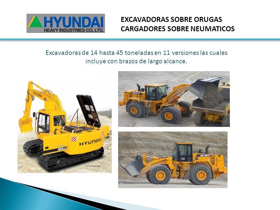 EXCAVADORAS SOBRE ORUGAS CARGADORES SOBRE NEUMATICOS Excavadoras de 14 hasta 45 toneladas en 11 versiones las cuales incluye con brazos de largo alcance.