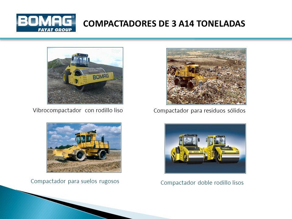 Vibrocompactador con rodillo liso Compactador para residuos sólidos COMPACTADORES DE 3 A14 TONELADAS Compactador para suelos rugosos Compactador doble rodillo lisos