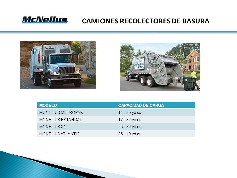 CAMIONES RECOLECTORES DE BASURA MODELOCAPACIDAD DE CARGA MCNEILUS METROPAK14 - 25 yd cu MCNEILUS ESTANDAR17 - 32 yd cu MCNEILUS XC25 - 32 yd cu MCNEILUS ATLANTIC36 - 40 yd cu