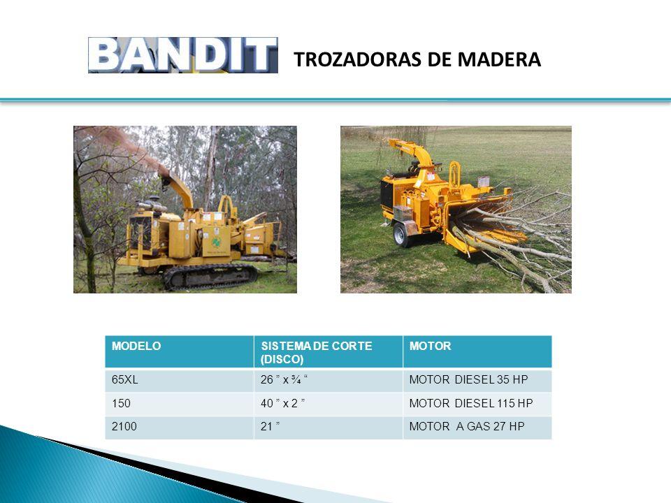 TROZADORAS DE MADERA MODELOSISTEMA DE CORTE (DISCO) MOTOR 65XL26 x ¾ MOTOR DIESEL 35 HP 15040 x 2 MOTOR DIESEL 115 HP 210021 MOTOR A GAS 27 HP