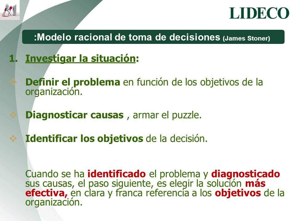 :Modelo racional de toma de decisiones (James Stoner) 1.Investigar la situación: Definir el problema en función de los objetivos de la organización. D