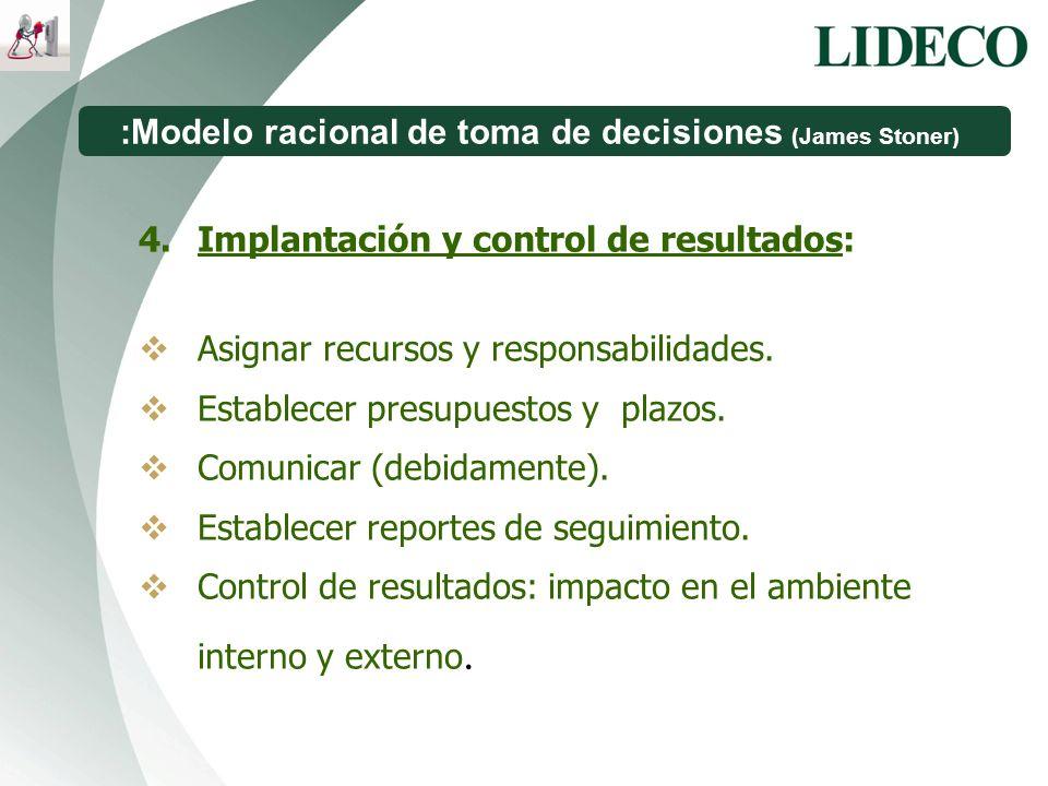 :Modelo racional de toma de decisiones (James Stoner) 4.Implantación y control de resultados: Asignar recursos y responsabilidades. Establecer presupu