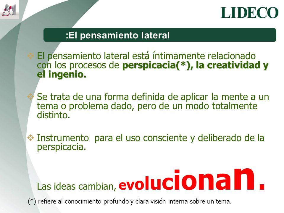 :El pensamiento lateral perspicacia(*), la creatividad y el ingenio. El pensamiento lateral está íntimamente relacionado con los procesos de perspicac