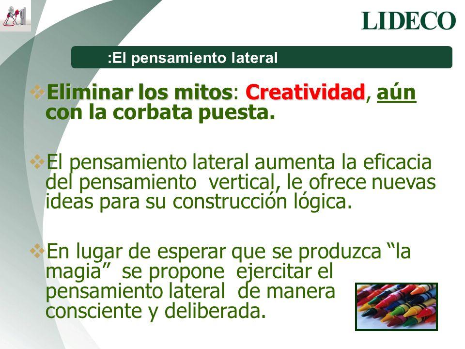 :El pensamiento lateral Eliminar los mitosCreatividad Eliminar los mitos: Creatividad, aún con la corbata puesta. El pensamiento lateral aumenta la ef