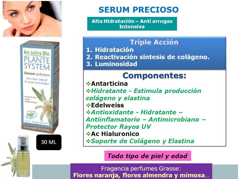Componentes: Antarticina Hidratante - Estimula producción colágeno y elastina Edelweiss Antioxidante - Hidratante – Antiinflamatorio – Antimicrobiano