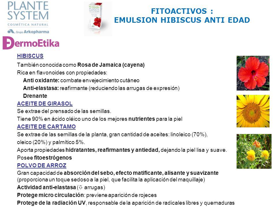 También conocida como Rosa de Jamaica (cayena) Rica en flavonoides con propiedades: Anti oxidante: combate envejecimiento cutáneo Anti-elastasa: reafi