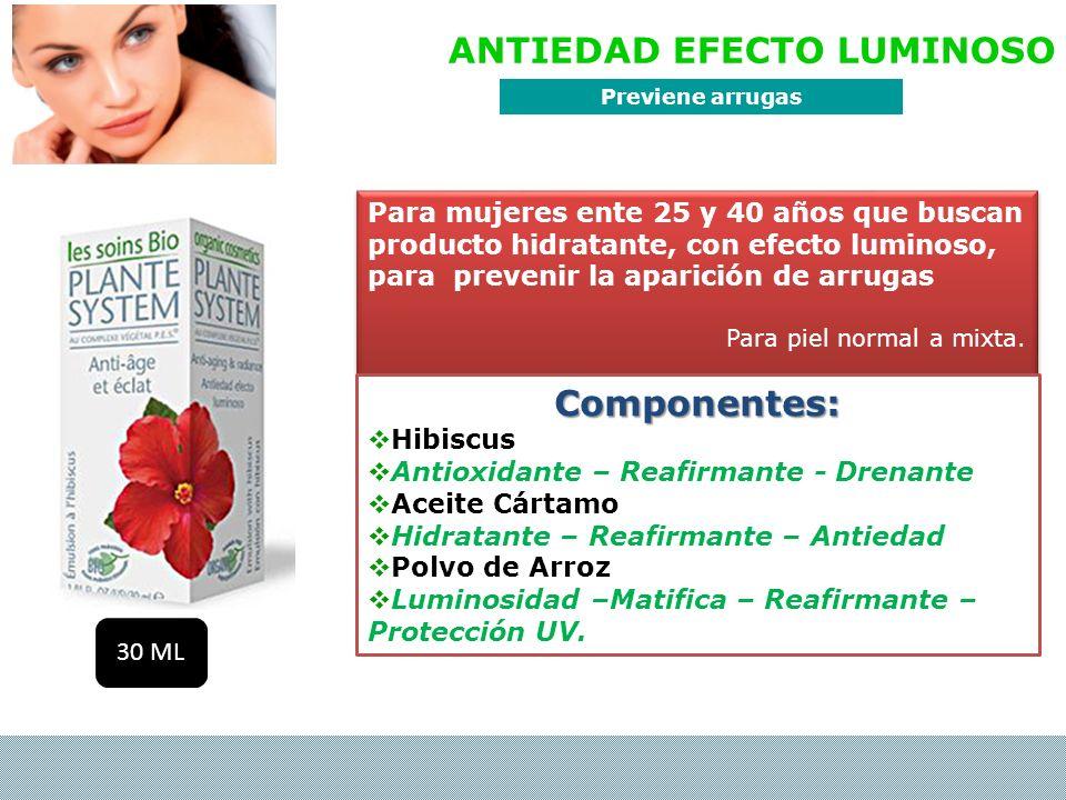 ANTIEDAD EFECTO LUMINOSO Para mujeres ente 25 y 40 años que buscan producto hidratante, con efecto luminoso, para prevenir la aparición de arrugas Par