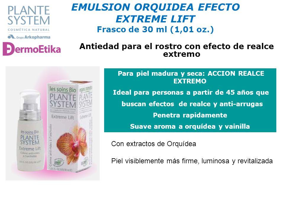COSMÉTICA NATURAL Para piel madura y seca: ACCION REALCE EXTREMO Ideal para personas a partir de 45 años que buscan efectos de realce y anti-arrugas P