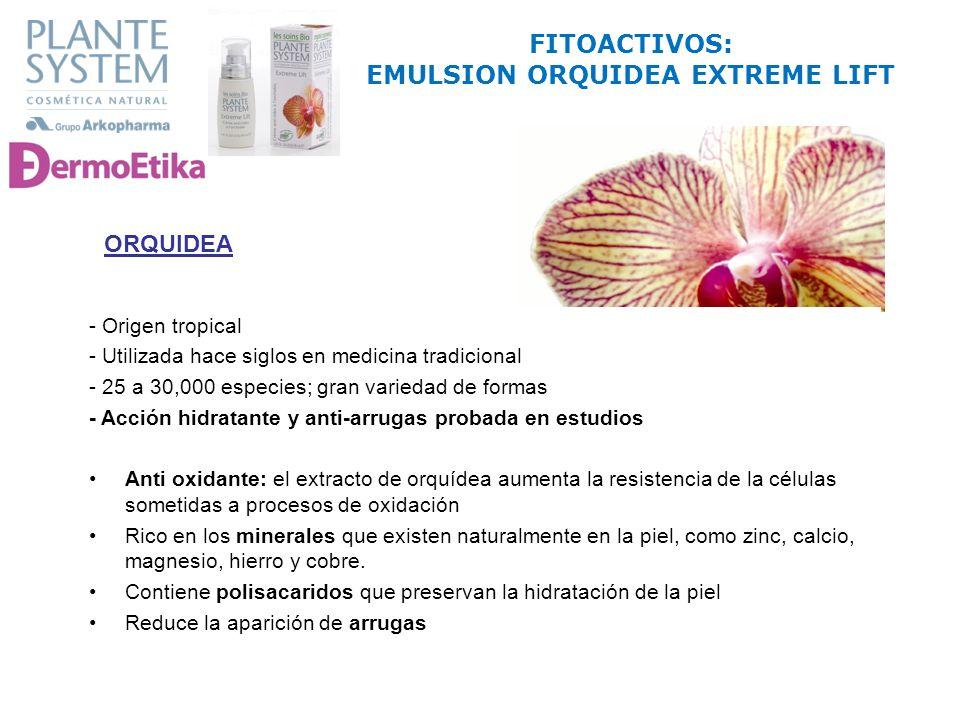 FITOACTIVOS: EMULSION ORQUIDEA EXTREME LIFT ORQUIDEA - Origen tropical - Utilizada hace siglos en medicina tradicional - 25 a 30,000 especies; gran va