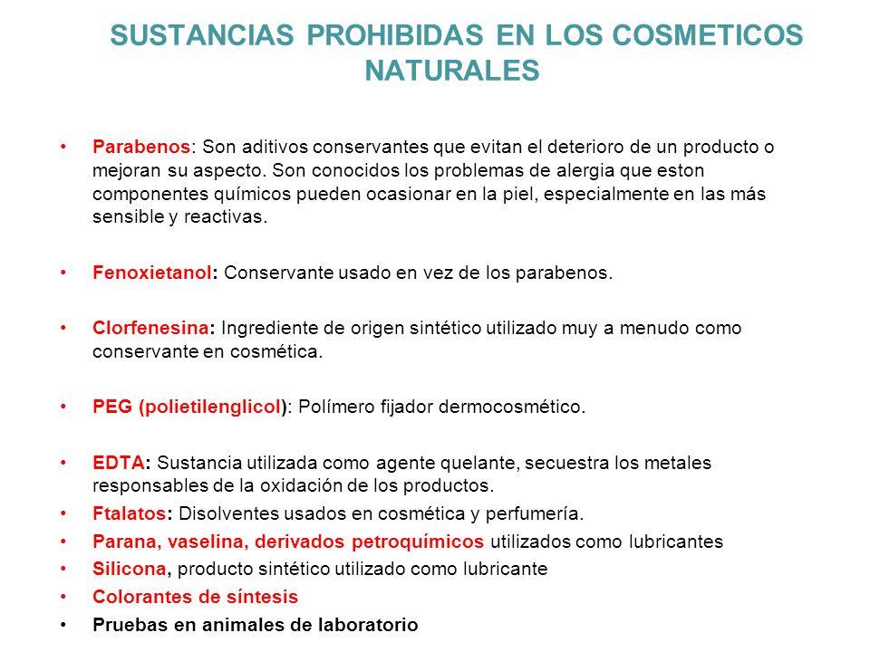 SUSTANCIAS PROHIBIDAS EN LOS COSMETICOS NATURALES Parabenos: Son aditivos conservantes que evitan el deterioro de un producto o mejoran su aspecto. So