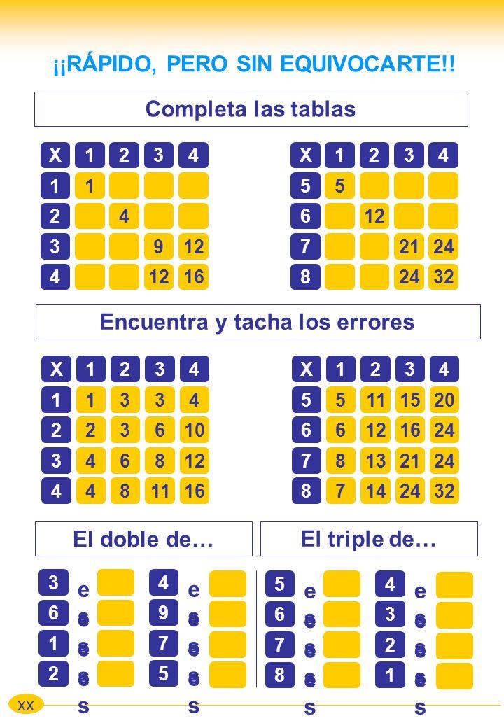 Completa las tablas xx ¡¡RÁPIDO, PERO SIN EQUIVOCARTE!! Encuentra y tacha los errores X1234 11 24 3912 4 16 X1234 55 612 72124 8 32 X1234 11334 223610