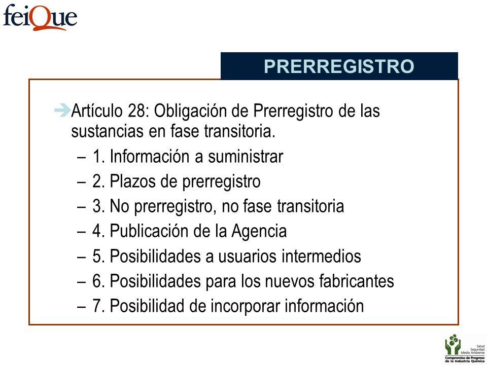 Artículo 28: Obligación de Prerregistro de las sustancias en fase transitoria. –1. Información a suministrar –2. Plazos de prerregistro –3. No prerreg