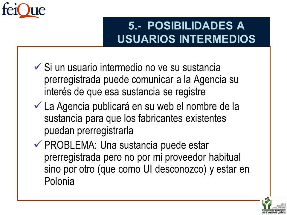 Si un usuario intermedio no ve su sustancia prerregistrada puede comunicar a la Agencia su interés de que esa sustancia se registre La Agencia publica
