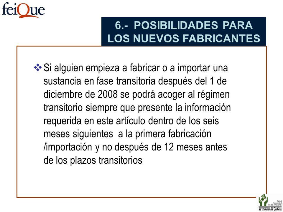 Si alguien empieza a fabricar o a importar una sustancia en fase transitoria después del 1 de diciembre de 2008 se podrá acoger al régimen transitorio