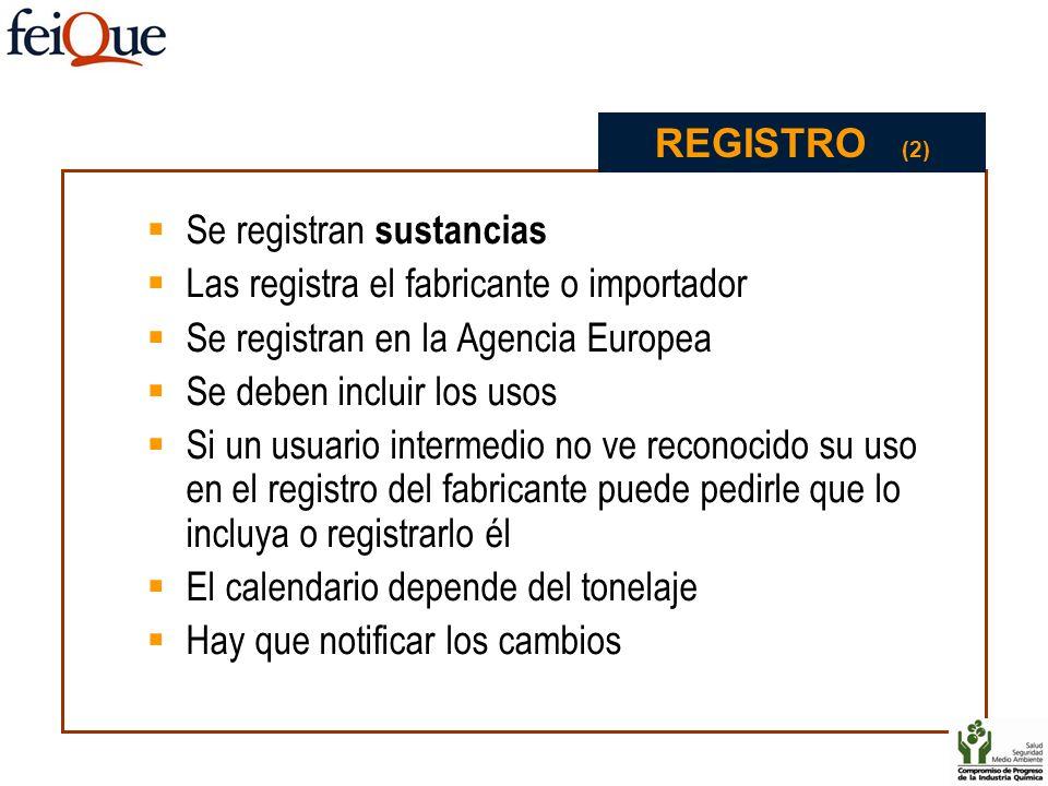 Se registran sustancias Las registra el fabricante o importador Se registran en la Agencia Europea Se deben incluir los usos Si un usuario intermedio