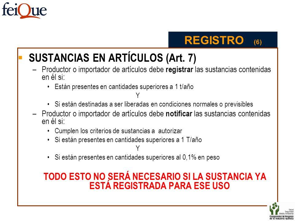 SUSTANCIAS EN ARTÍCULOS (Art. 7) –Productor o importador de artículos debe registrar las sustancias contenidas en él si: Están presentes en cantidades