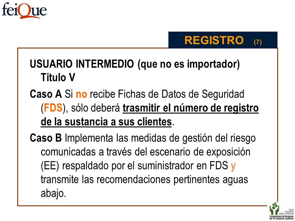 USUARIO INTERMEDIO (que no es importador) Titulo V Caso A Si no recibe Fichas de Datos de Seguridad ( FDS ), sólo deberá trasmitir el número de regist