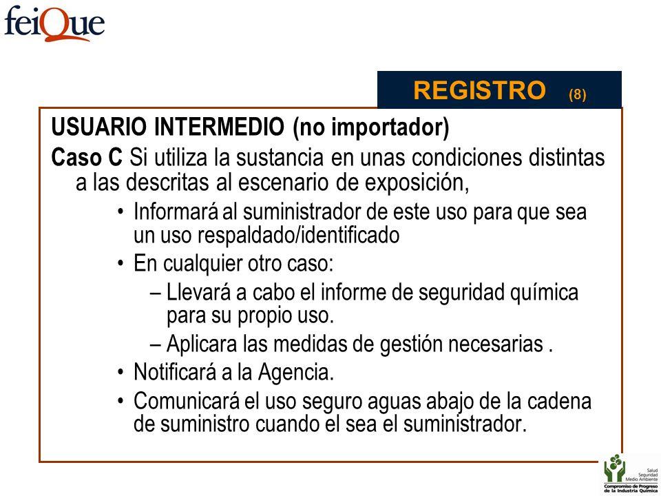 USUARIO INTERMEDIO (no importador) Caso C Si utiliza la sustancia en unas condiciones distintas a las descritas al escenario de exposición, Informará
