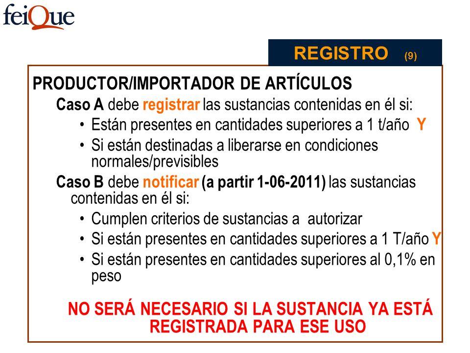 PRODUCTOR/IMPORTADOR DE ARTÍCULOS Caso A debe registrar las sustancias contenidas en él si: Están presentes en cantidades superiores a 1 t/año Y Si es