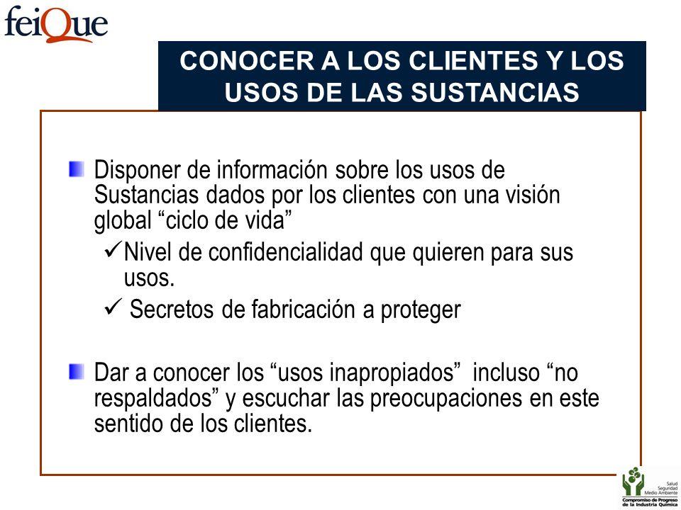 Disponer de información sobre los usos de Sustancias dados por los clientes con una visión global ciclo de vida Nivel de confidencialidad que quieren