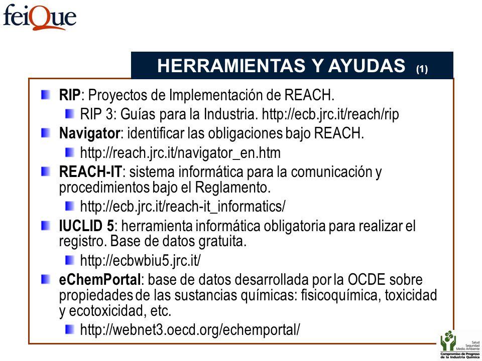 RIP : Proyectos de Implementación de REACH. RIP 3: Guías para la Industria. http://ecb.jrc.it/reach/rip Navigator : identificar las obligaciones bajo