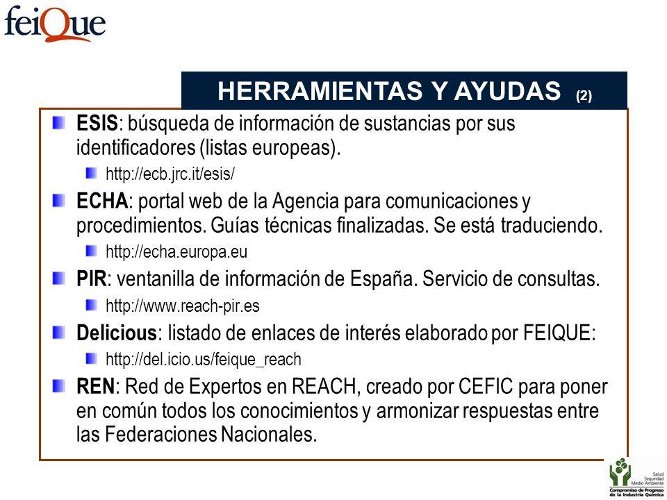 ESIS : búsqueda de información de sustancias por sus identificadores (listas europeas). http://ecb.jrc.it/esis/ ECHA : portal web de la Agencia para c