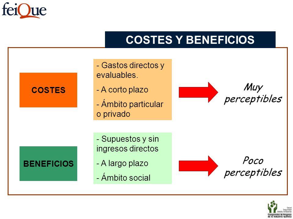 COSTES - Gastos directos y evaluables. - A corto plazo - Ámbito particular o privado Muy perceptibles BENEFICIOS - Supuestos y sin ingresos directos -