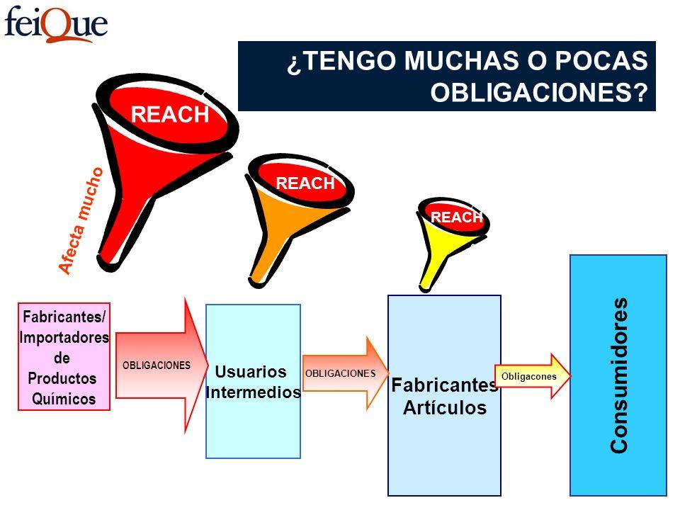 Fabricantes/ Importadores de Productos Químicos Usuarios Intermedios Fabricantes Artículos Consumidores Afecta mucho OBLIGACIONES REACH Obligacones Af