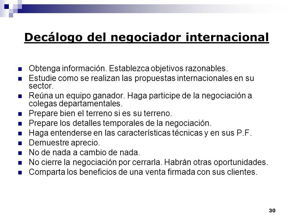 29 Consejos para negociar a través de interpretes No pronuncie frases excesivamente largas. Use lenguaje directo. Palabras sencillas y inequívocas. No