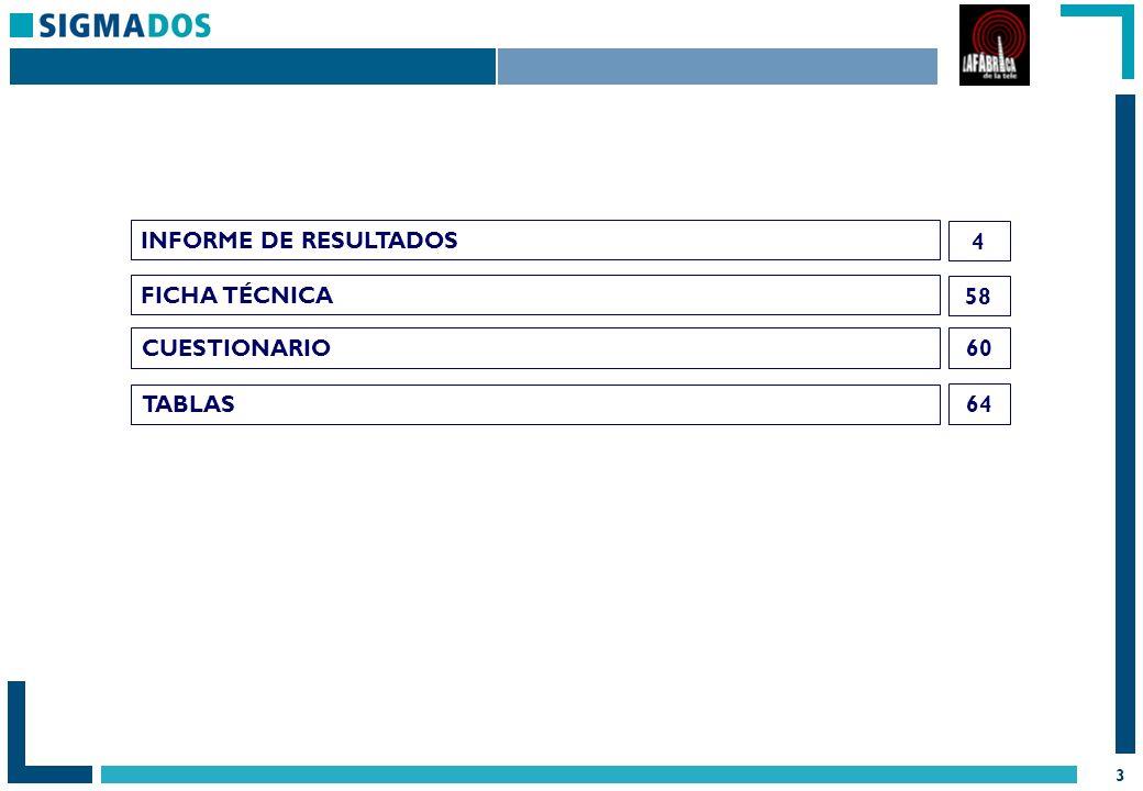 3 FICHA TÉCNICA 58 INFORME DE RESULTADOS 4 CUESTIONARIO TABLAS 60 64