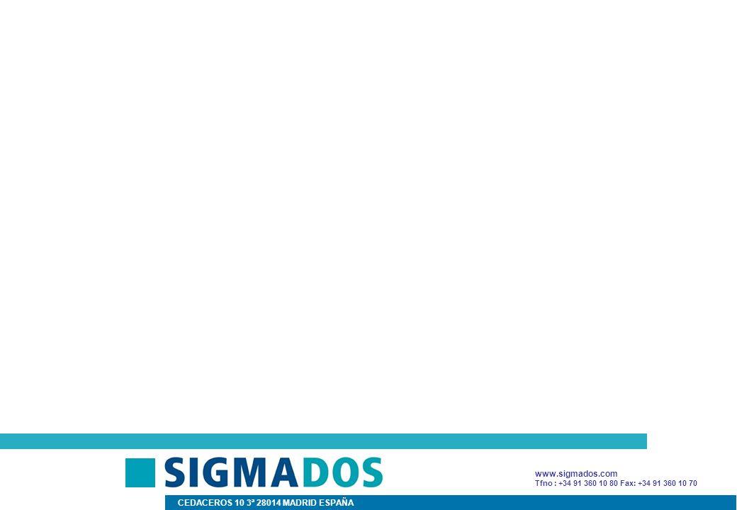 Tfno : +34 91 360 10 80 Fax: +34 91 360 10 70 CEDACEROS 10 3ª 28014 MADRID ESPAÑA www.sigmados.com
