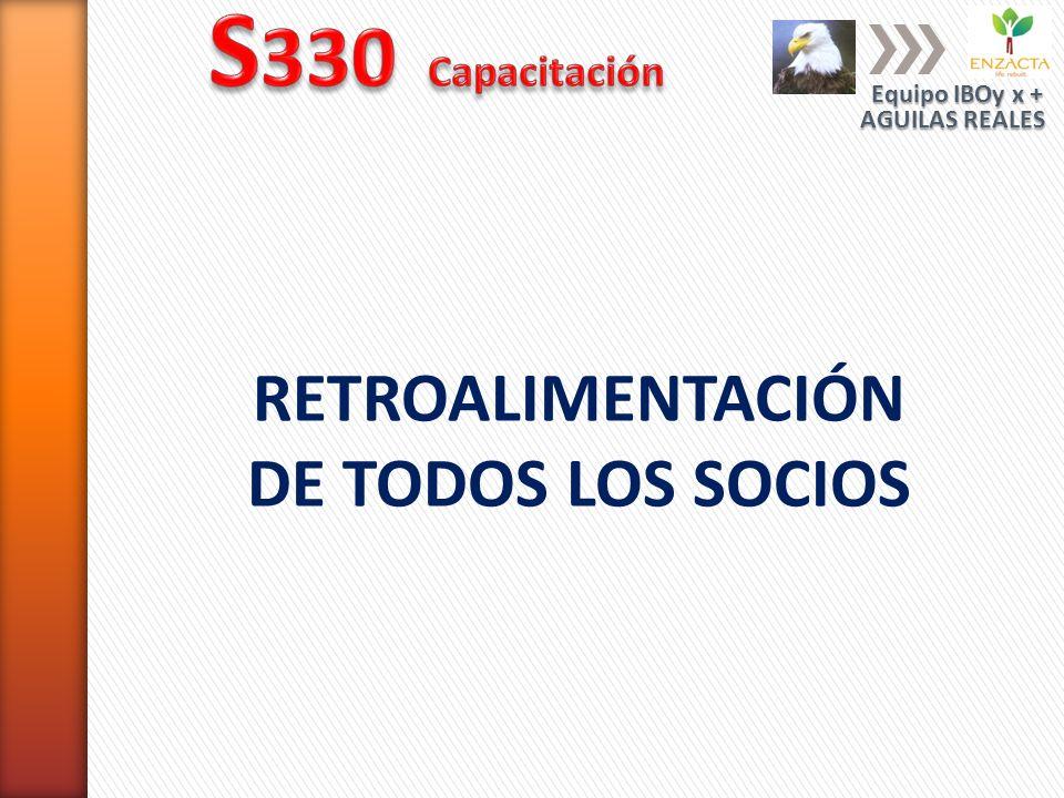 RETROALIMENTACIÓN DE TODOS LOS SOCIOS Equipo IBOy x + AGUILAS REALES
