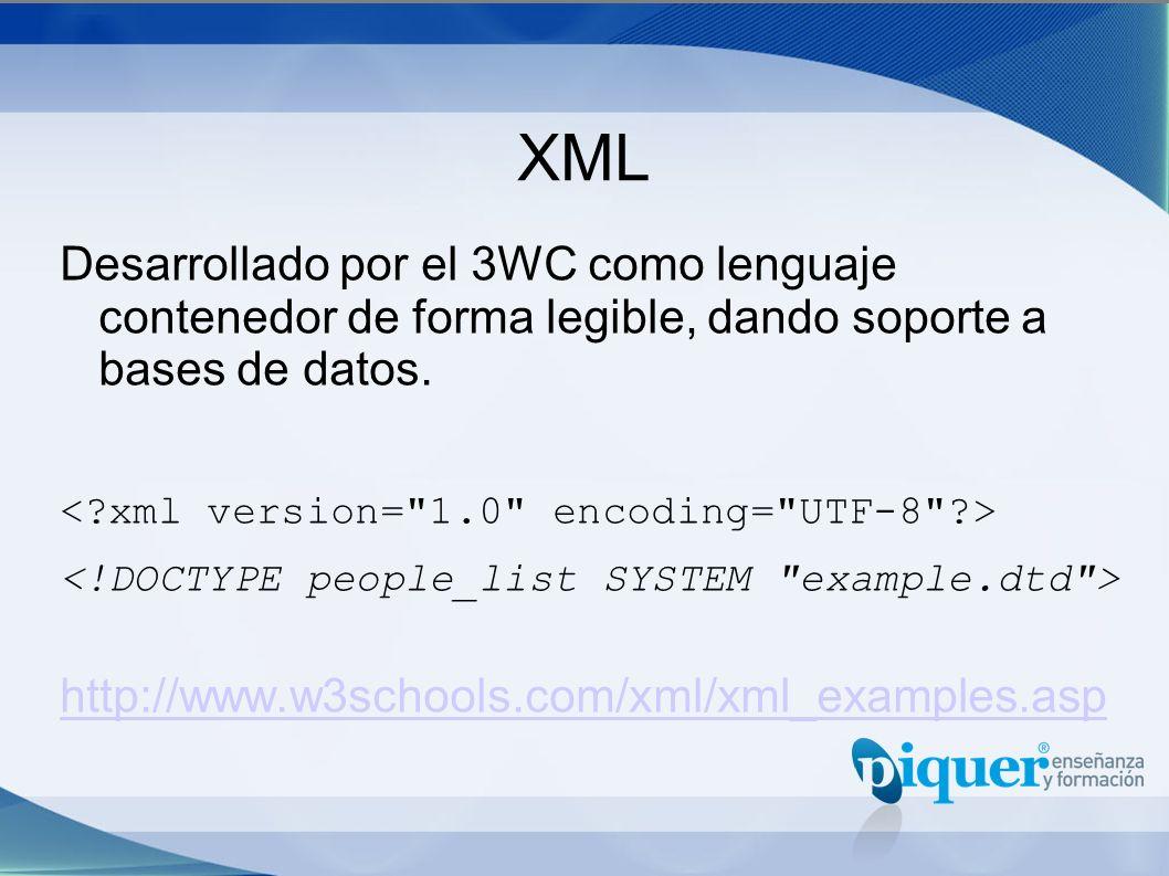 XML Desarrollado por el 3WC como lenguaje contenedor de forma legible, dando soporte a bases de datos. http://www.w3schools.com/xml/xml_examples.asp