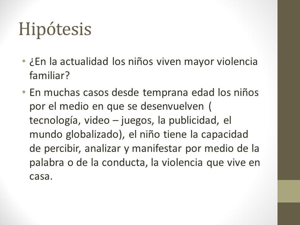 Hipótesis ¿En la actualidad los niños viven mayor violencia familiar.