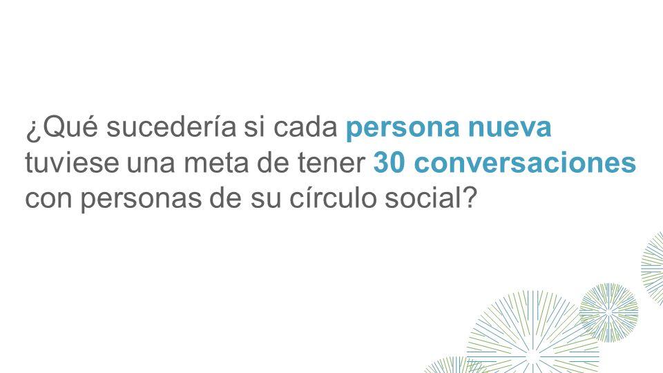 ¿Qué sucedería si cada persona nueva tuviese una meta de tener 30 conversaciones con personas de su círculo social