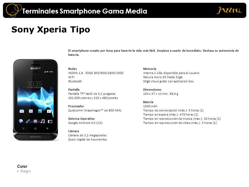 Sony Xperia Tipo Color Negro El smartphone creado por Sony para hacerte la vida más fácil. Empieza a usarlo de inmediato. Destaca su autonomía de bate