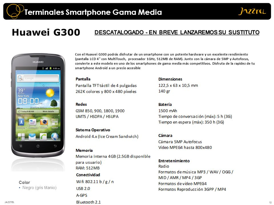 12 JAZZTEL Huawei G300 Color Negro (gris titanio) Con el Huawei G300 podrás disfrutar de un smartphone con un potente hardware y un excelente rendimie
