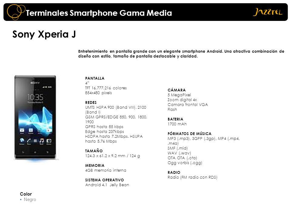 Sony Xperia J Entretenimiento en pantalla grande con un elegante smartphone Android. Una atractiva combinación de diseño con estilo, tamaño de pantall