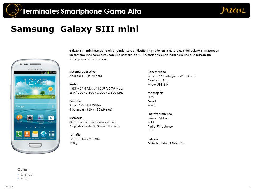 15 JAZZTEL Samsung Galaxy SIII mini Color Blanco Azul Galaxy S III mini mantiene el rendimiento y el diseño inspirado en la naturaleza del Galaxy S II