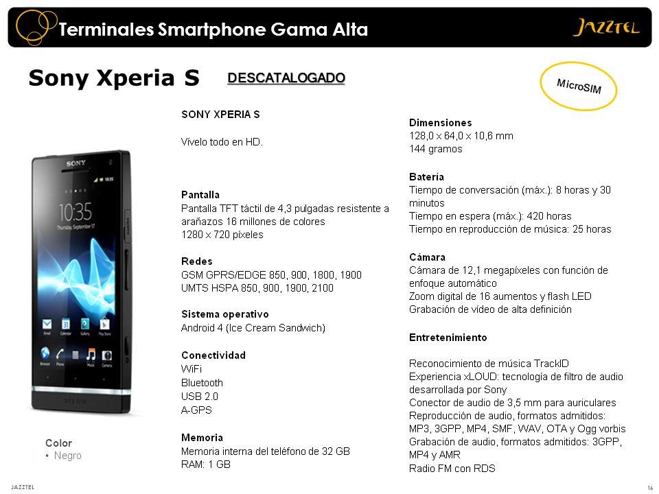 16 JAZZTEL Sony Xperia S Color Negro Terminales Smartphone Gama Alta MicroSIM DESCATALOGADO
