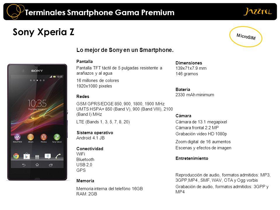 Sony Xperia Z Lo mejor de Sony en un Smartphone. Pantalla Pantalla TFT táctil de 5 pulgadas resistente a arañazos y al agua 16 millones de colores 192