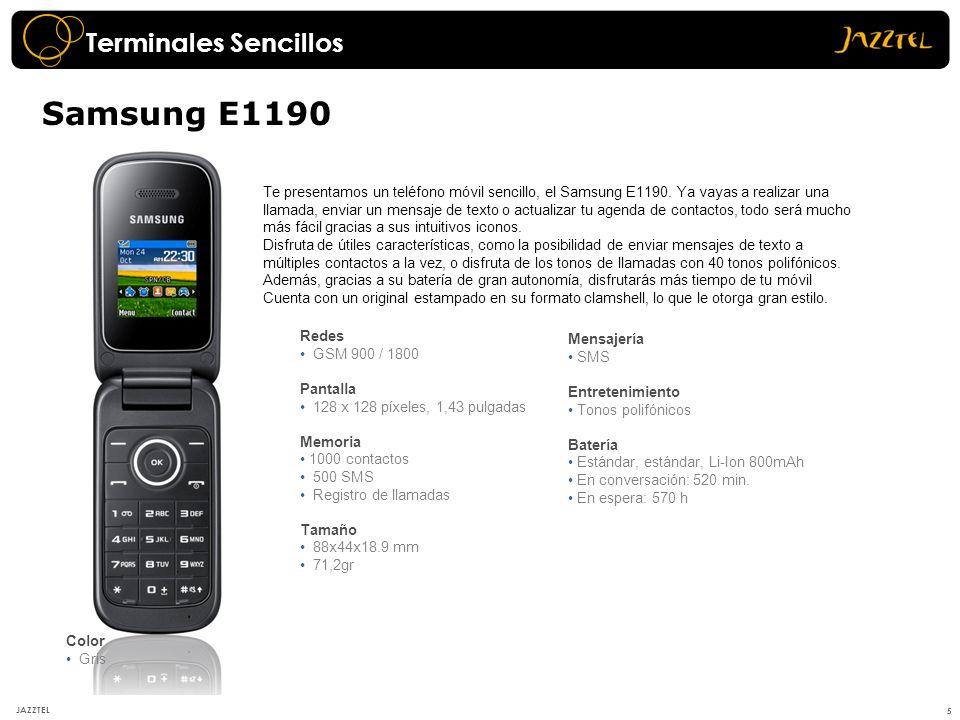 Redes GSM 900 / 1800 Pantalla 128 x 128 píxeles, 1,43 pulgadas Memoria 1000 contactos 500 SMS Registro de llamadas Tamaño 88x44x18.9 mm 71,2gr Termina