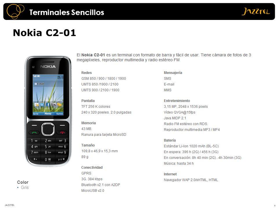 Nokia Asha 300 7 JAZZTEL Evolución del C2-01 monoblock con interfaz Touch and Type, pantalla más grande, cámara de 5Mpx y procesador de 1Ghz.