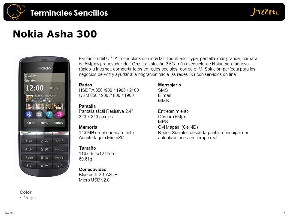 Nokia Asha 300 7 JAZZTEL Evolución del C2-01 monoblock con interfaz Touch and Type, pantalla más grande, cámara de 5Mpx y procesador de 1Ghz. La soluc