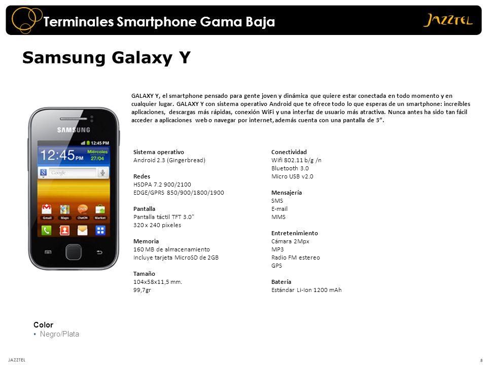 19 JAZZTEL Color Blanco Azul Samsung Galaxy S III Redes HSPA+ 21 / HSUPA 5,76 Mbps 850 / 900 / 1800 / 1900 / 2100, MHz Pantalla Pantalla de 4.8 (1280 x 720) HD Super AMOLED Tamaño 136.6 x.70.6 x 8.6 mm 133 gr Memoria 16 GB Sistema Operativo Android 4,0,4 (IceCream Sandwich) Cámara Cámara de 8.0 MP 4xDigital Mensajería SMS, MMS, E-mail Conectividad Bluetooth 4.0 USB 2.0 Wifi 802.11 a/b/g/n, WiFi Direct Outlook Sync Batería 2100 mAh En conversación: 1300 min (2G) / 700 min (3G) En espera: 590 h (2G) / 790 h (3G) Formatos música MP3, AAC, AMR, WMA, OGG MPEG4 Entretenimiento Radio FM estéreo con RDS A-GPS.
